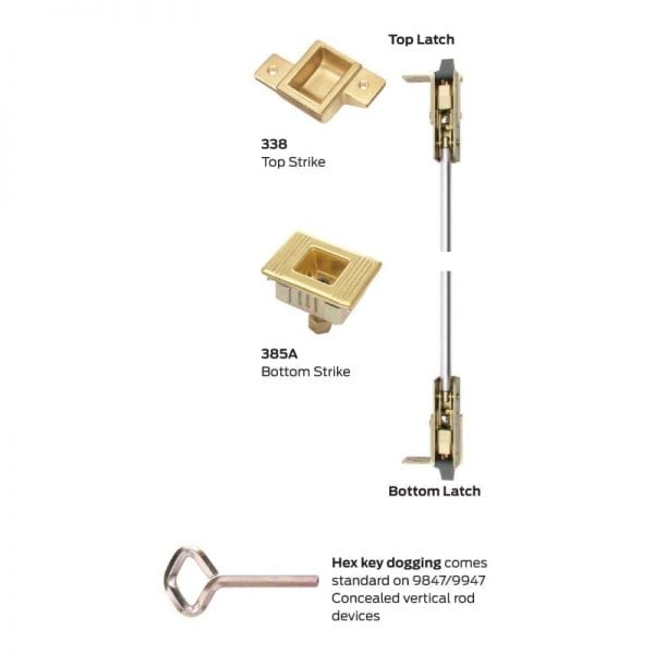 3 3/' Von Duprin 9948EO4A3 9948EO 4A Concealed Vertical Rod Device