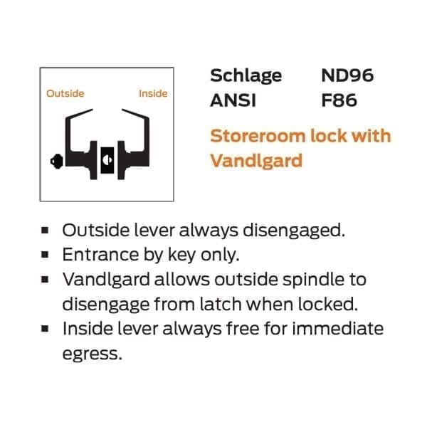 Corridor Vandlguard Satin Chrome Finish Schlage Commercial ND97SPA626 ND Series Grade 1 Cylindrical Lock Sparta Lever Design